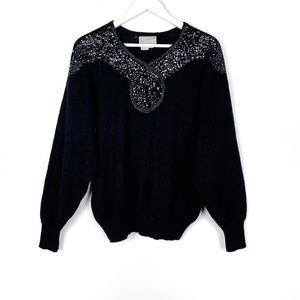 Vintage Black Beaded Sequin Knit Sweater